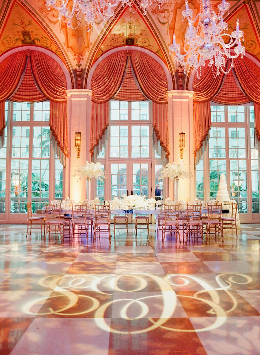 The Breakers ballroom with gobo lighting
