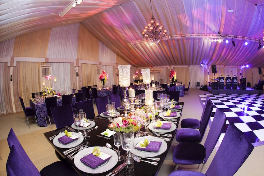 Purple reception with black and white dance floor