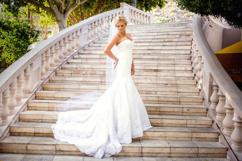 Bride on steps at The Phoenician