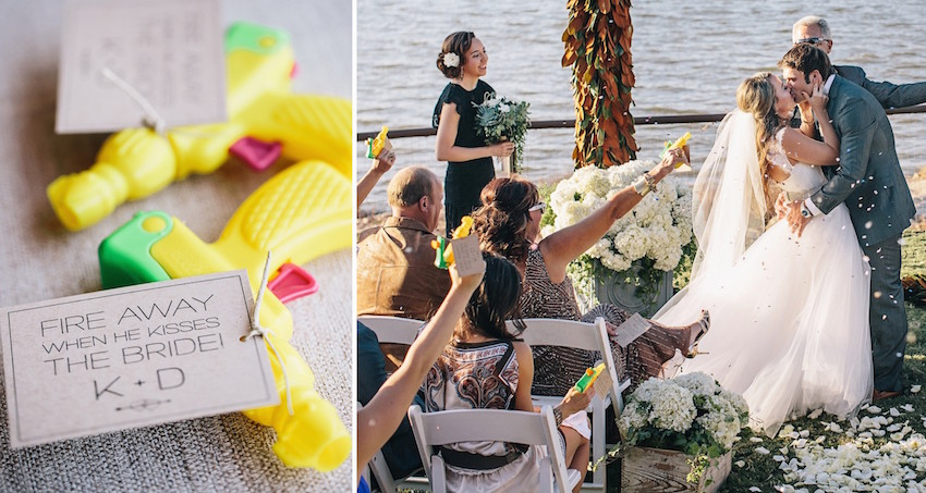 water gun favors at wedding ceremony