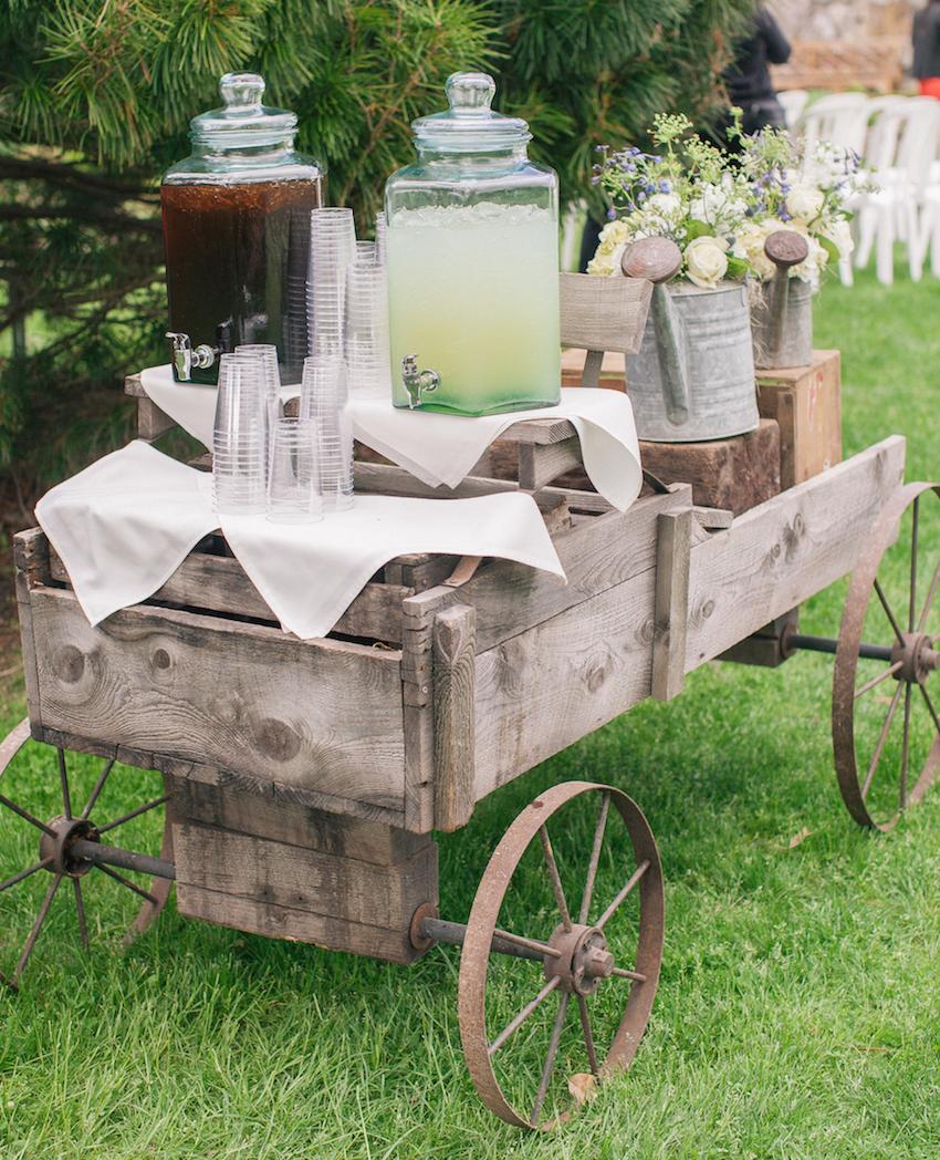 Lemonade and iced tea on wood wagon