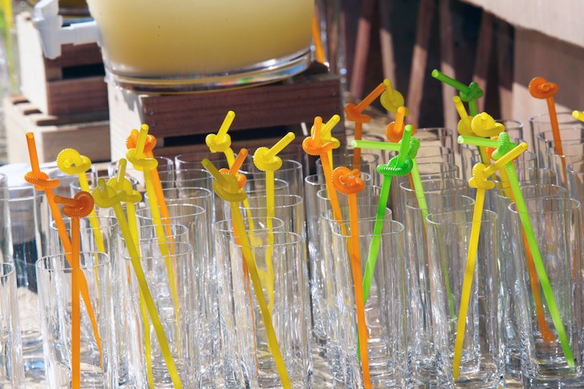 Twirly straws for kids at a wedding