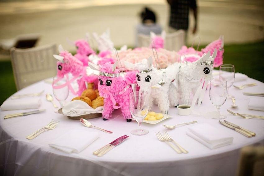Mario Lopez wedding kids table pinatas