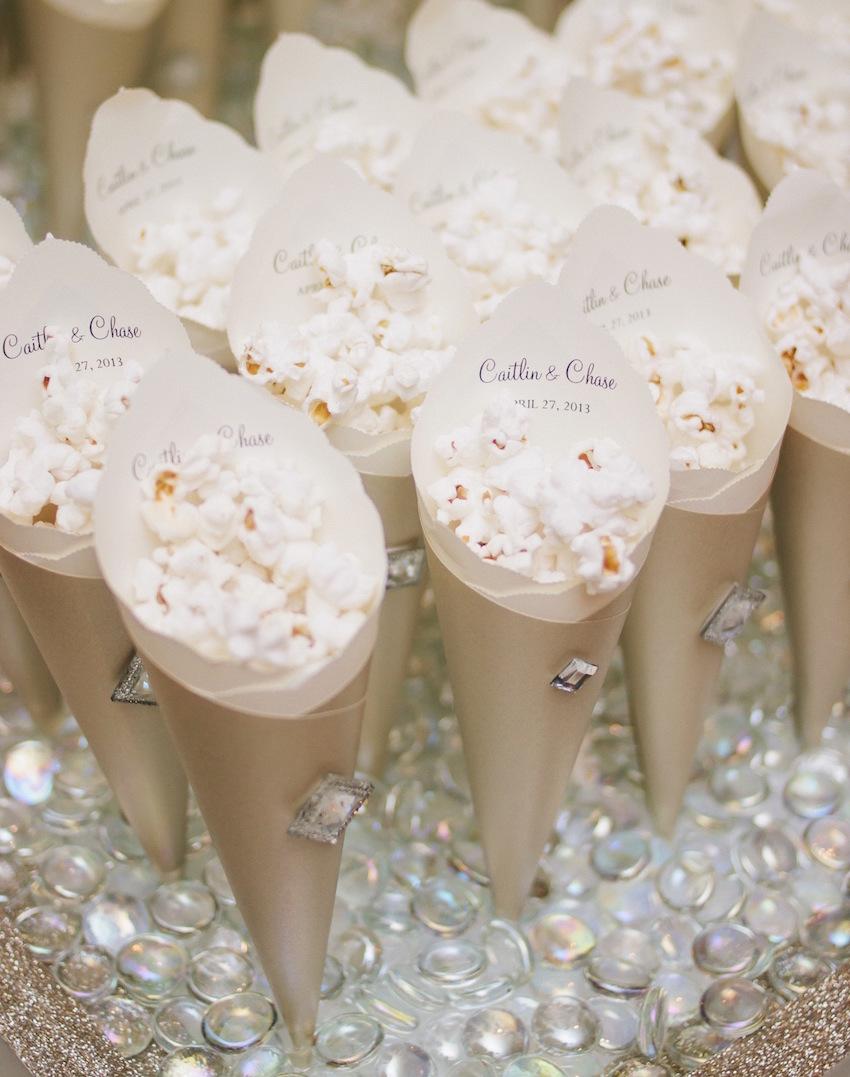 popcorn in paper cones at wedding