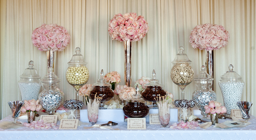 pink and white candy bar at wedding