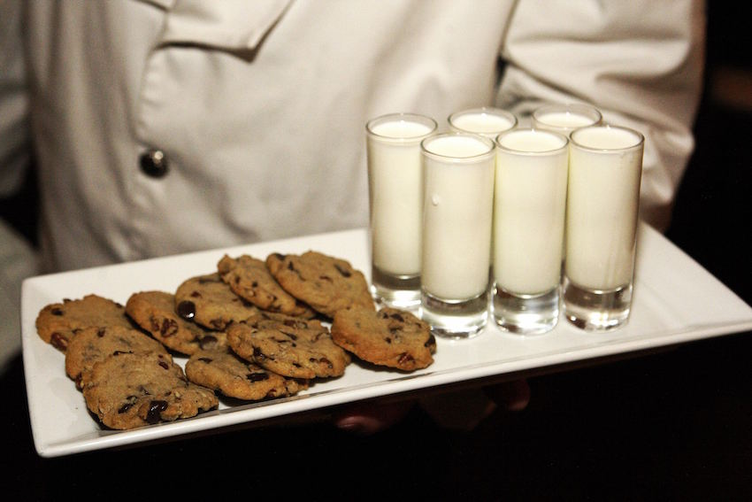 Cookies and milk at wedding reception