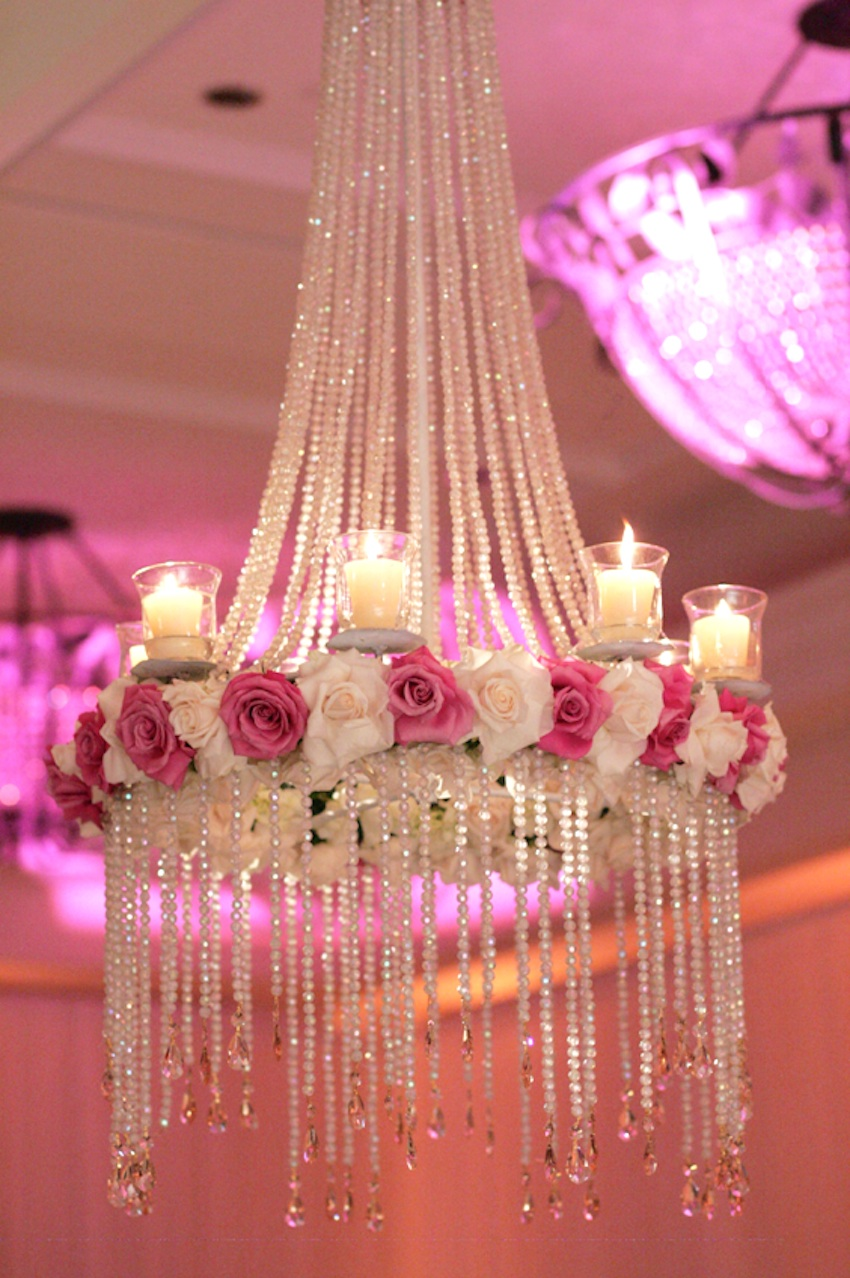Crystal chandelier with pink and white roses
