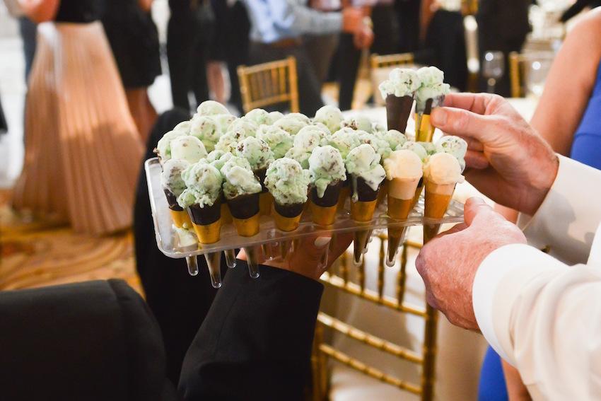 Mint chocolate chip ice cream cones at wedding
