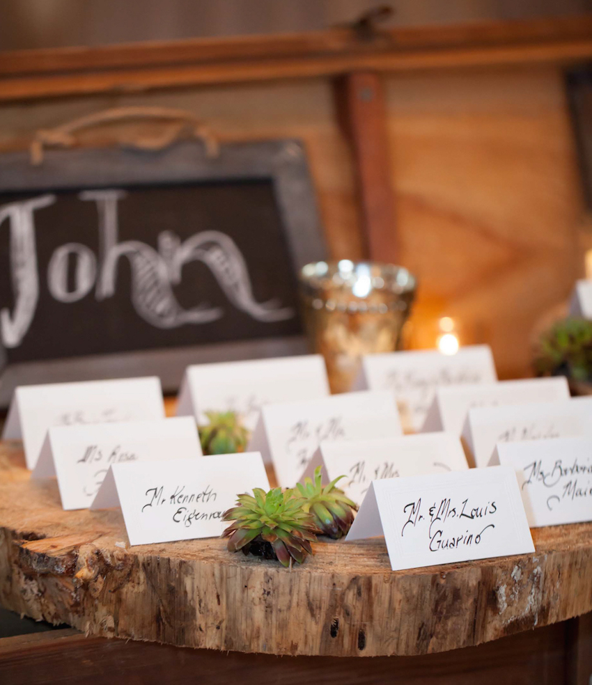 Place cards on rustic wedding wood slab