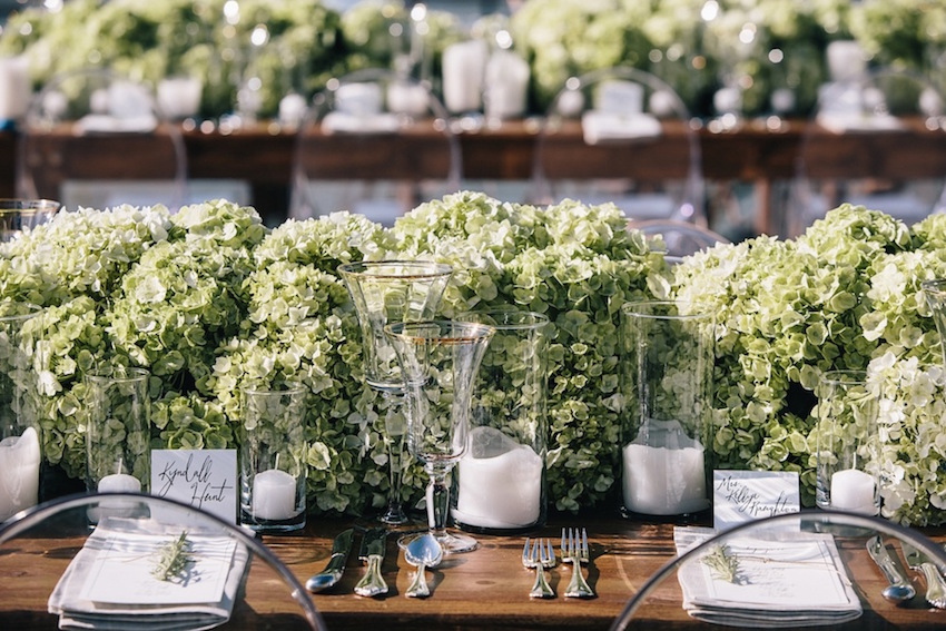 Rustic wedding with hydrangea table runner