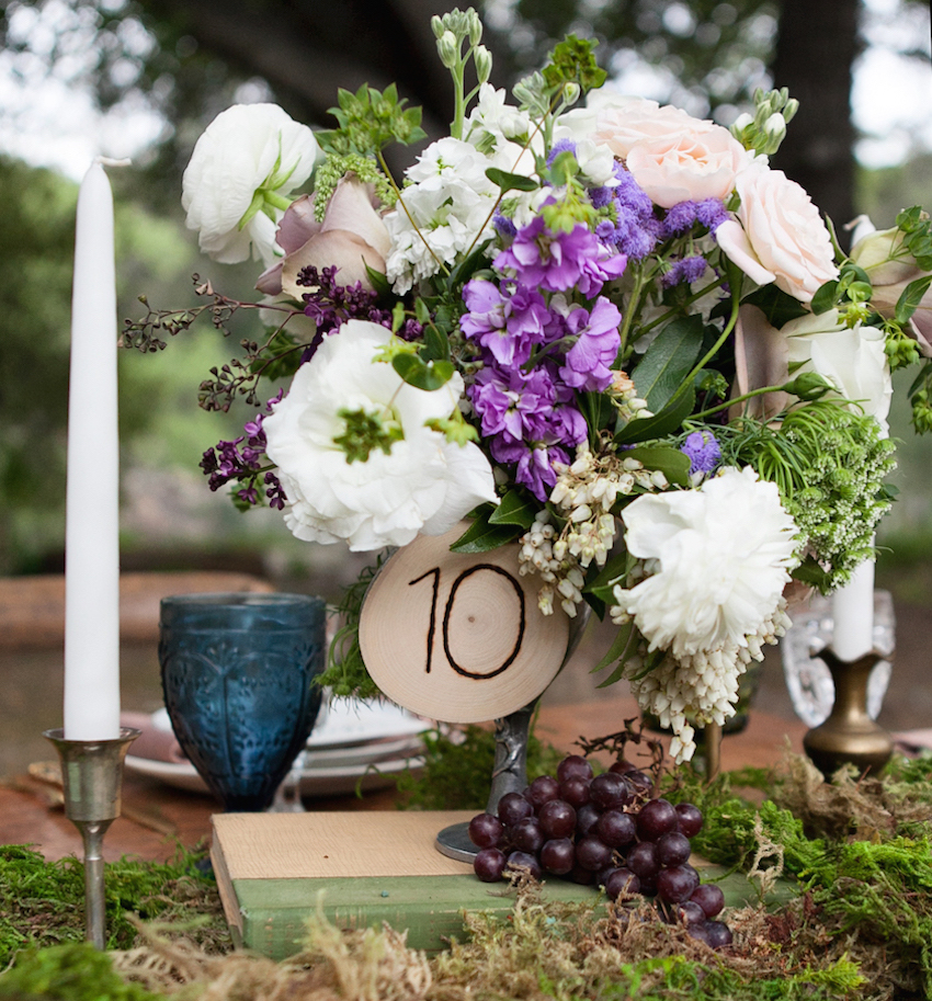 Rustic outdoor wedding idea table number on wood