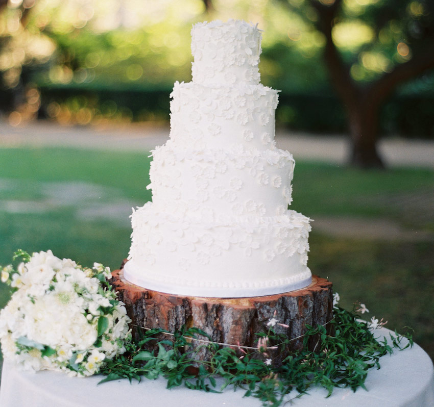 White wedding cake on rustic wood slab trunk