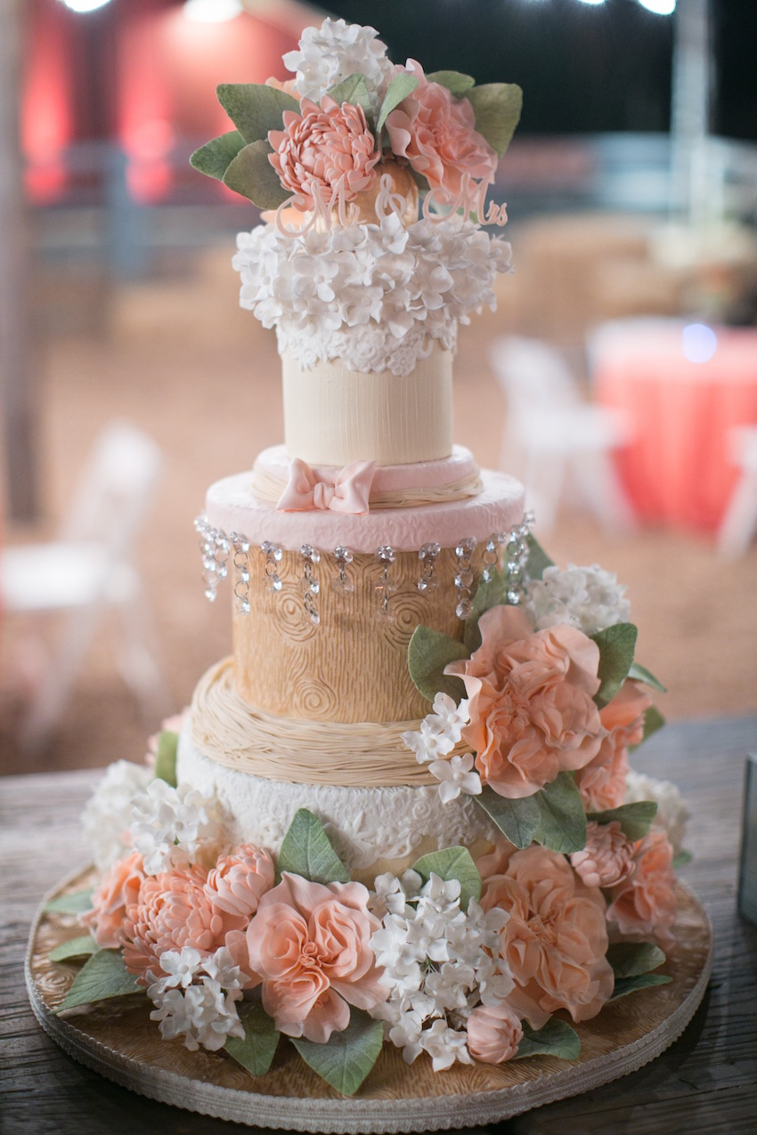 Rustic wood grain cake at David Tutera wedding