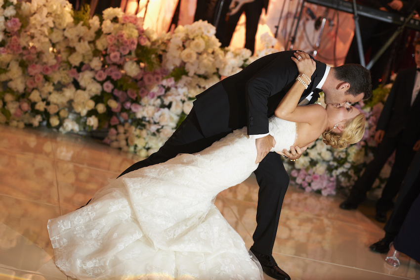 Bride and groom first dance dip