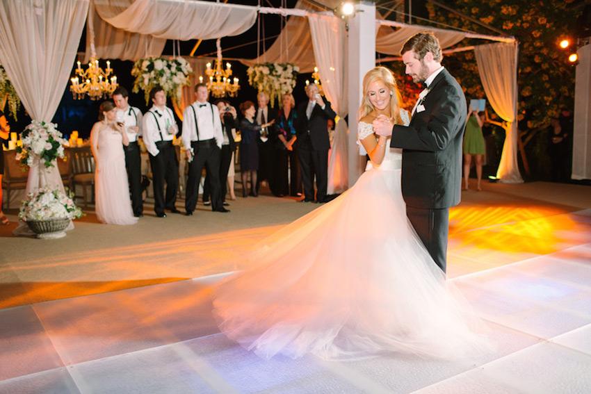 Bride and groom on dance floor first dance