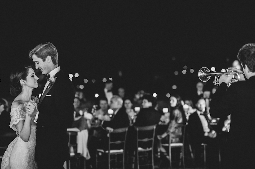 Black and white photo of first dance with trumpet