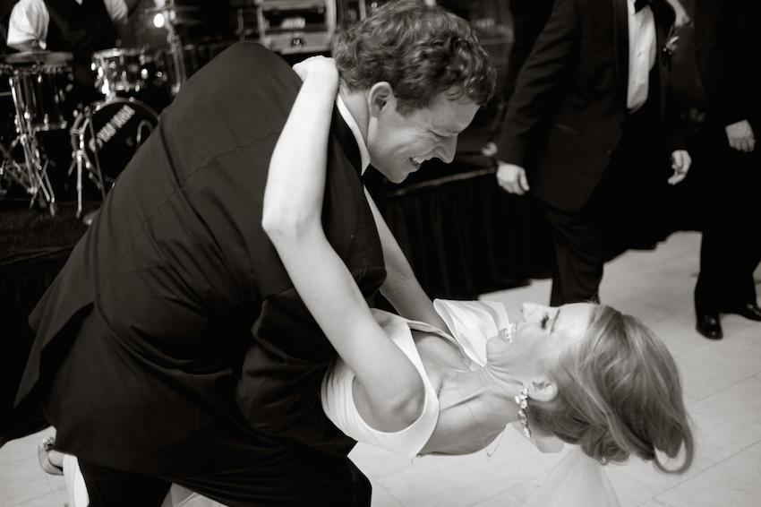 Black and white photo of romantic first dance