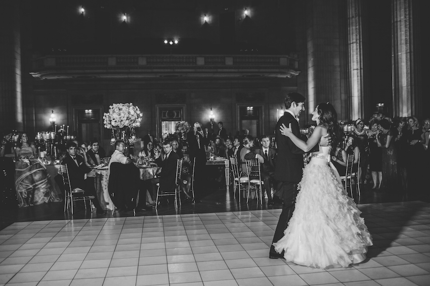 Black and white photo of ballroom first dance