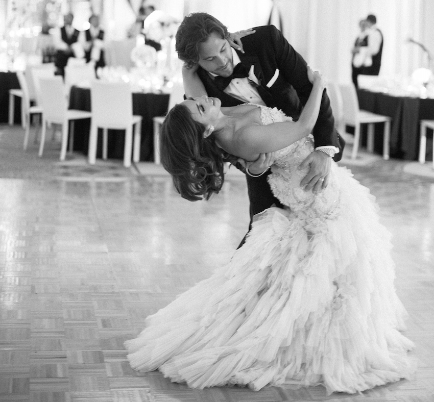 Black and white photo of Adrianna Costa first dance