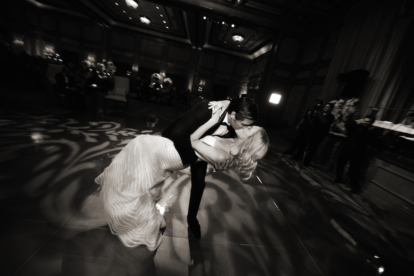 Bride and groom black and white on dance floor