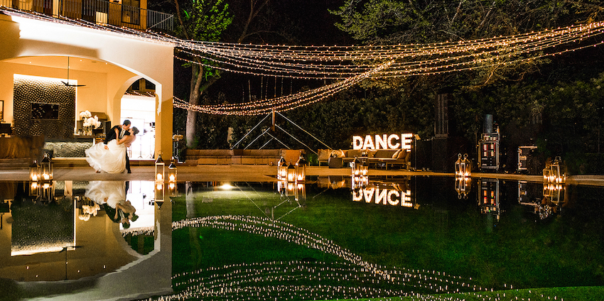 Dance marquee lights with bulbs at wedding