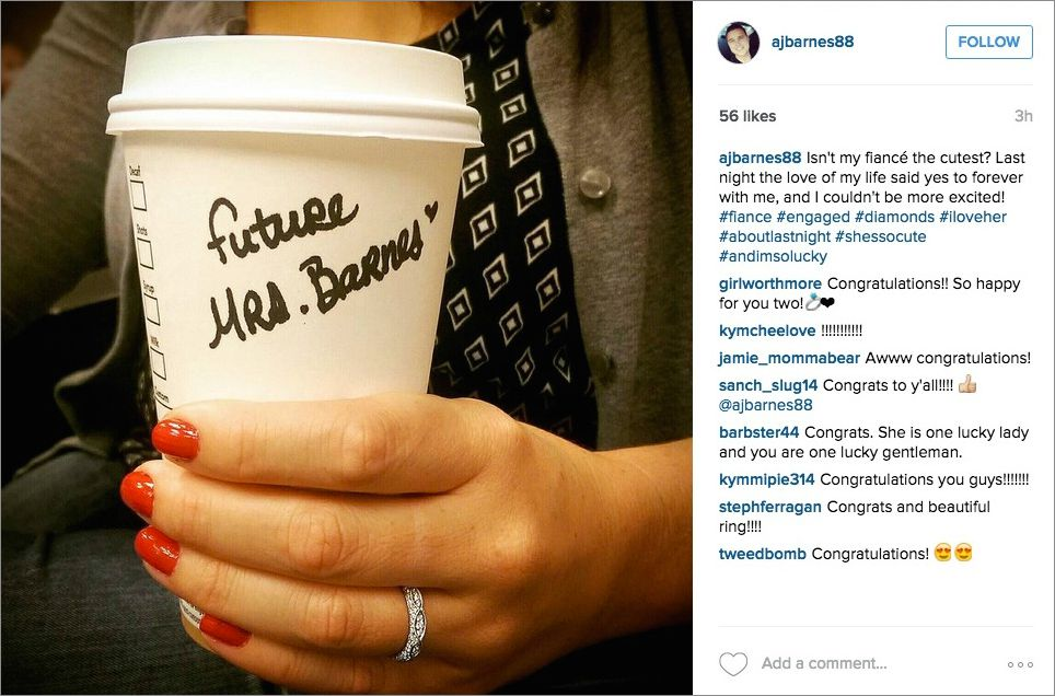 Coffee cup starbucks instagram engagement announcement