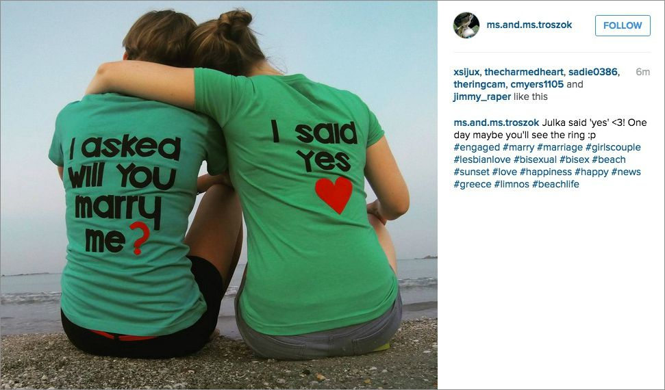 T-shirt instagram engagement announcement