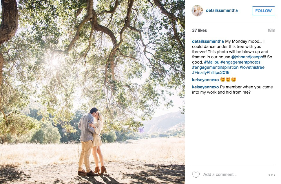 Engagement photo next to tree