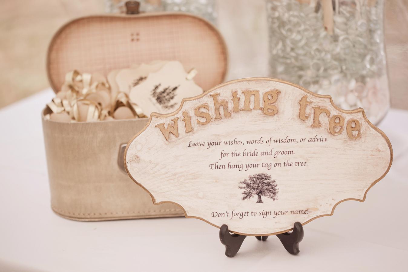 rustic wishing tree sign