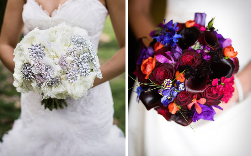 bouquet with jeweled pins