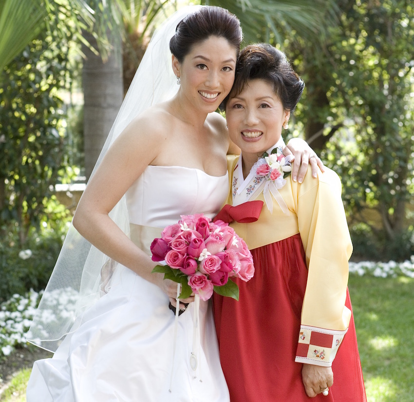 Asian bride with mother of bride
