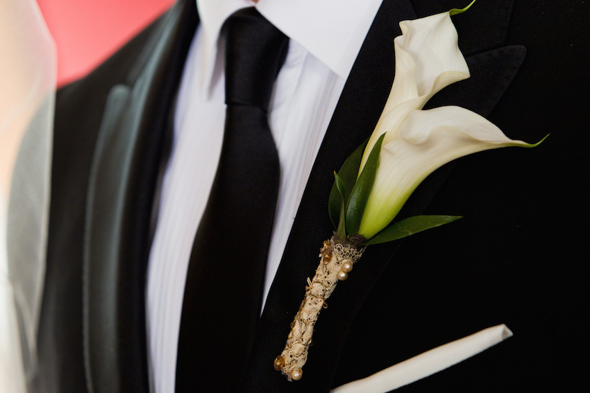 Grandmother's lace on boutonniere