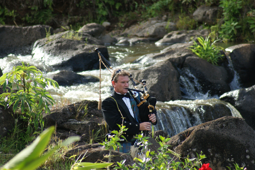 Bagpipe player bagpiper at wedding