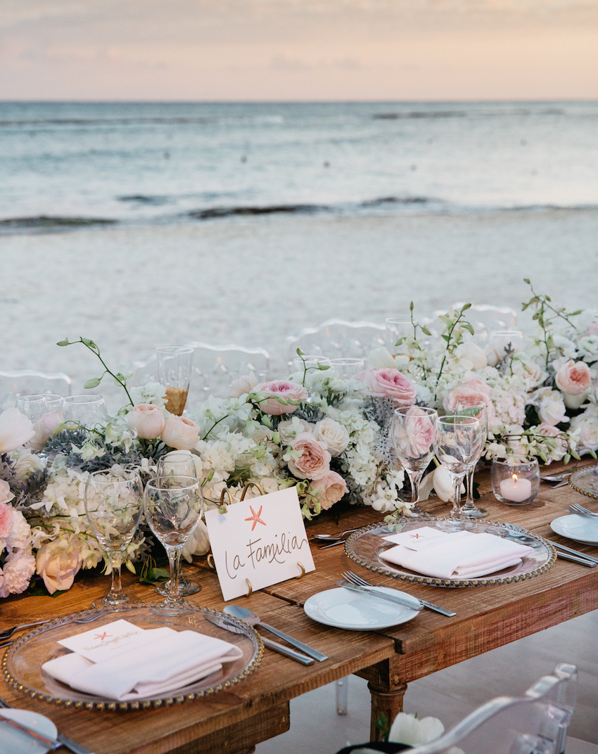 Oceanfront table runner at destination wedding