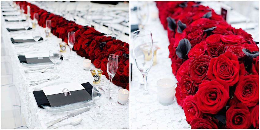 Black and white and red wedding table