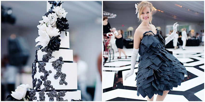 Black and white wedding cake and napkin girl