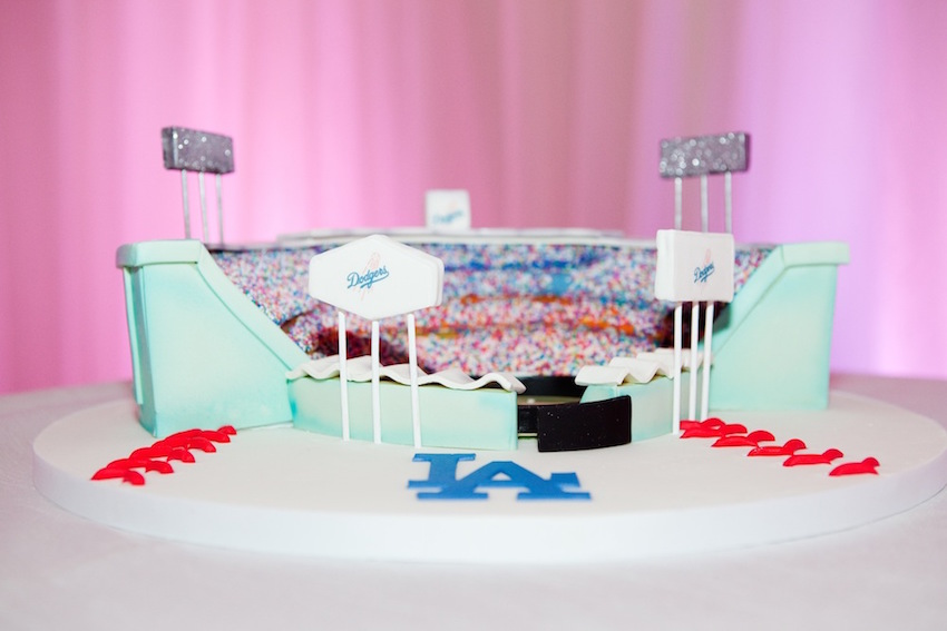 Los Angeles Dodgers Stadium wedding groom's cake