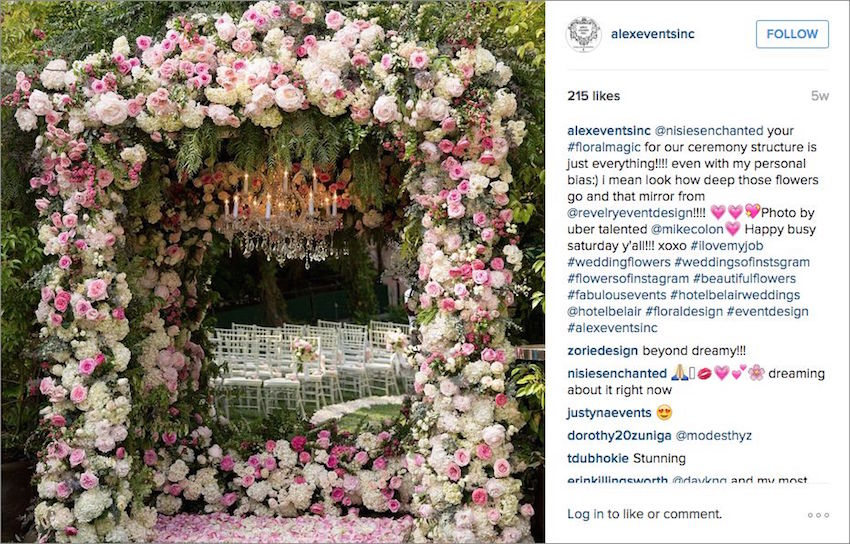 Alex Events pink and white flower wedding arch