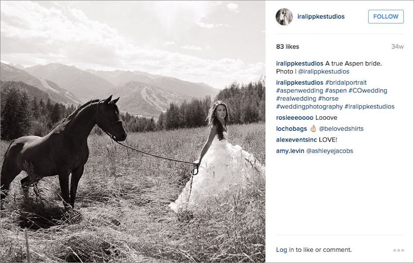 Bride with horse in Aspen Ira Lippke Studios