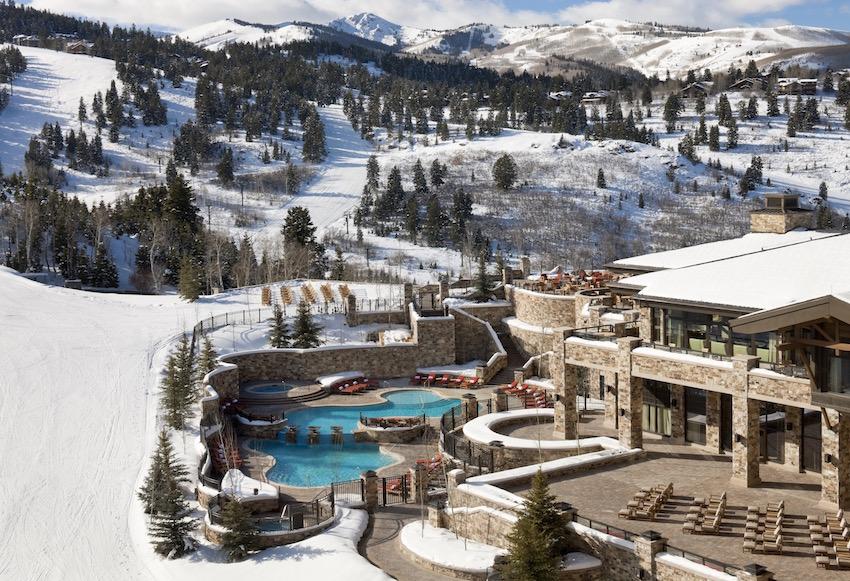 St Regis Deer Valley slopeside pool and hot tub