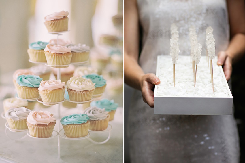 Pastel cupcakes and white rock candy