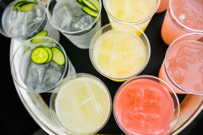 Cucumber water and sugar cocktail drinks