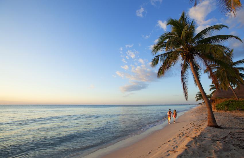 Playa del Carmen beach walk at Mahekal