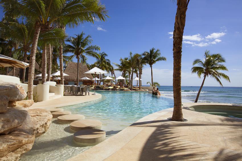 View of pool from Las Olas restaurant Mahekal