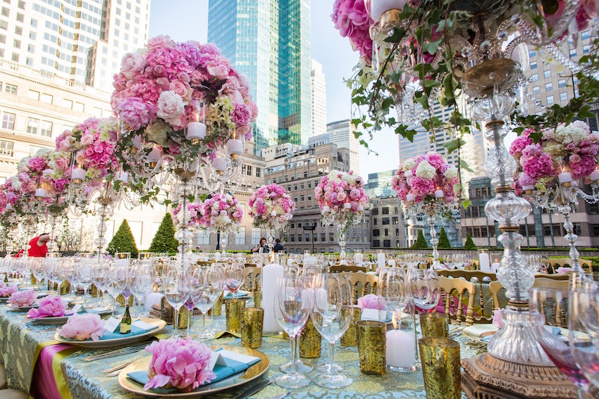 Lavish opulent rehearsal dinner on New York City rooftop