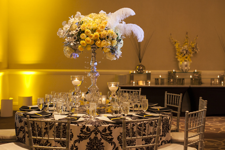 black white and yellow tables
