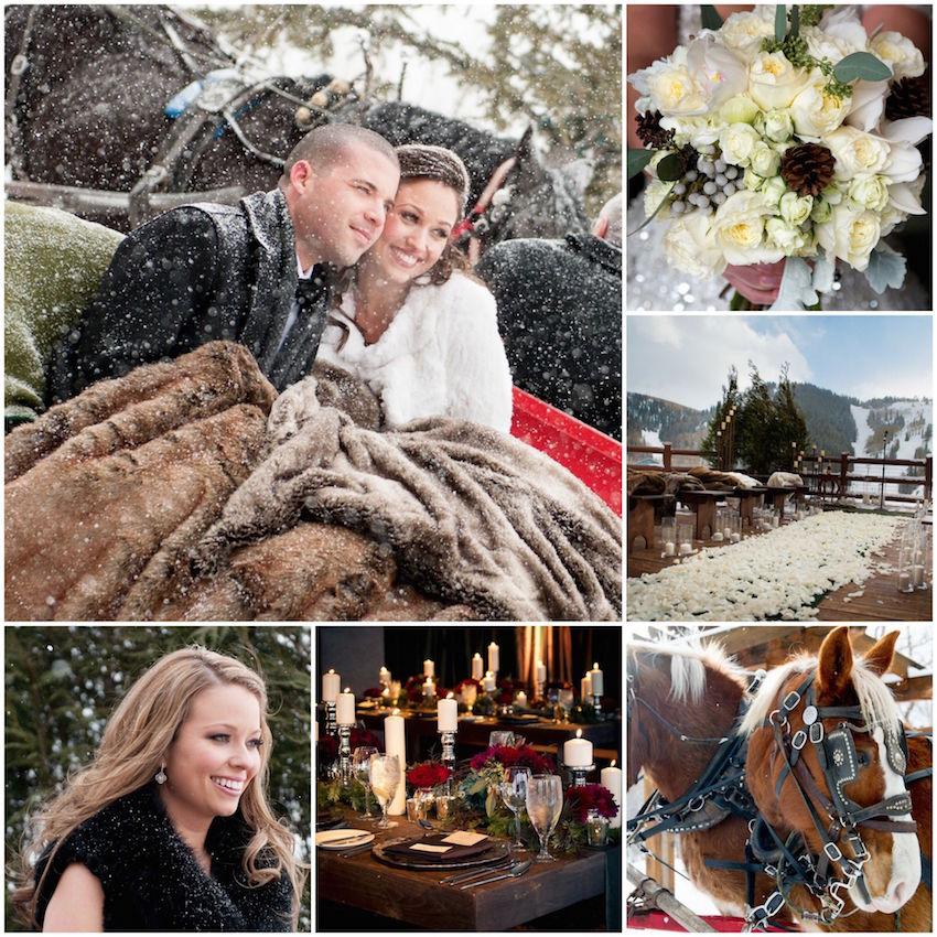Snowy outdoor winter wedding ideas