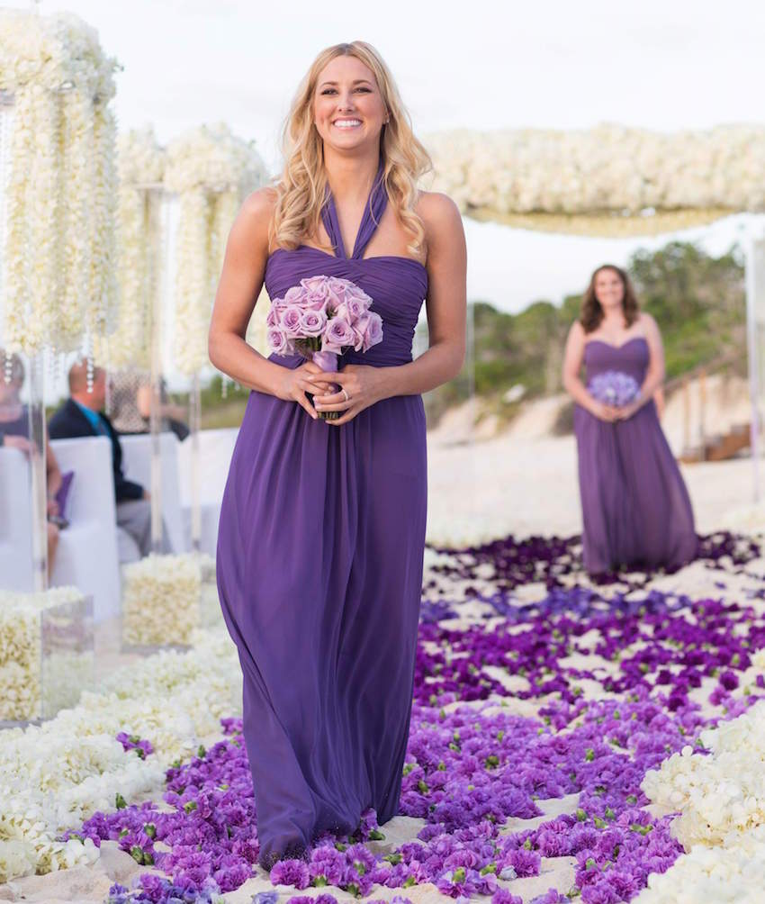 Purple bridesmaid dress and purple bouquet