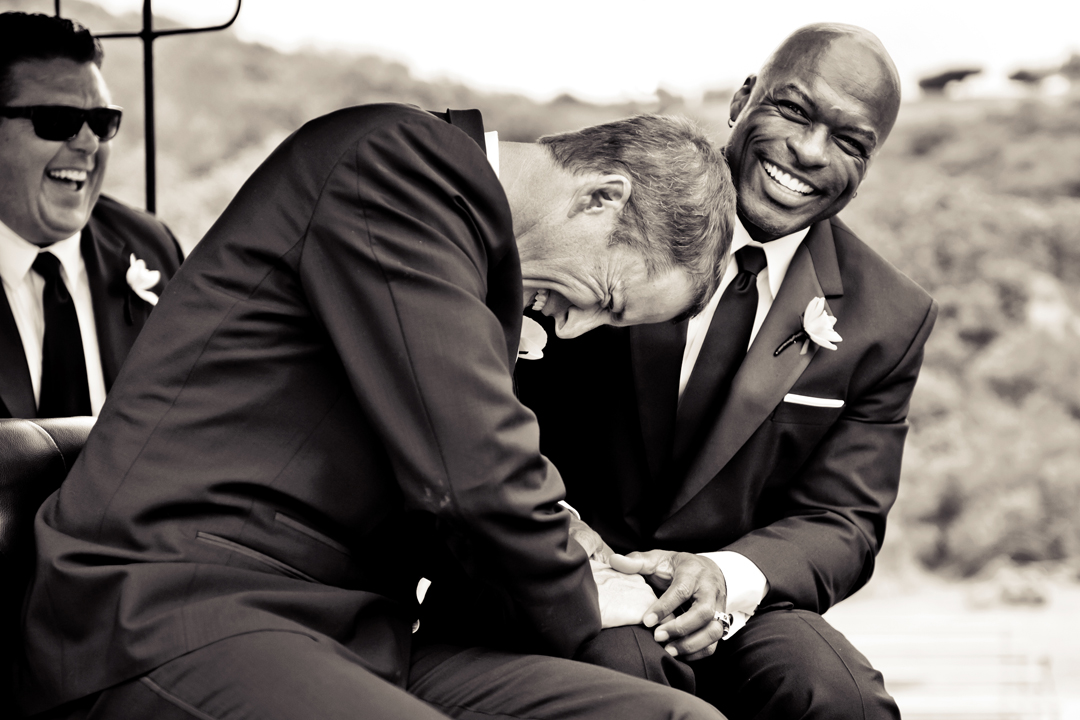laughing groomsman