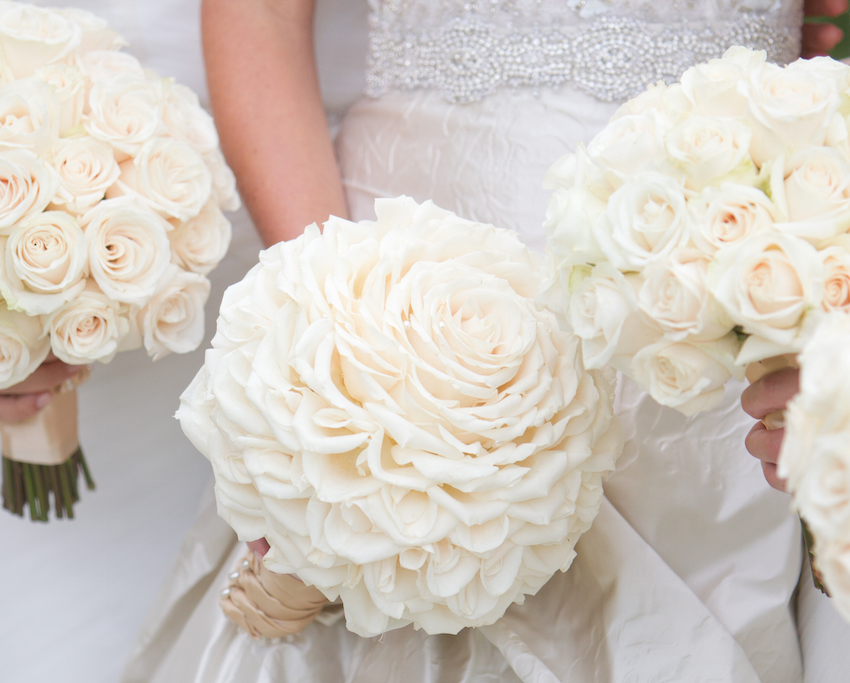 White rose glamelia wedding bouquet
